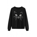 Preppy Cat Printed Loose Casual Long Sleeve Round Neck Pullover Sweatshirt
