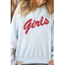 Creative Letter GIRLS Printed Round Neck Simple Oversized Pullover Sweatshirt