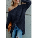 Navy Blue Solid One Shoulder Long Sleeve Loose Fit Fuzzy Knit Soft Pullover Sweater