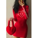 Womens Fashion Red Heart Printed Stripe Panelled Long Sleeve High Collar Slim Fit Mini Dress