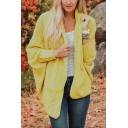 Casual Plain Shawl Collar Batwing Sleeve Double Pockets Baggy Relaxed Cardigan Knitwear