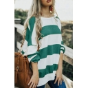 Two Tone Striped Long Sleeve Oversized Casual Pullover Sweatshirt