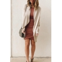 Womens Trendy Solid Long Sleeve Open Front Tunic Cocoon Cardigan Coat