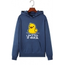 Womens Cute Letter I DON'T GIVE A DUCK Printed Long Sleeve Fleece Drawstring Hoodie