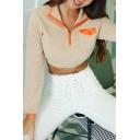 Ladies Chic Colorblock Half Zip Chest Flap Pocket Apricot Polar Fleece Cropped Sweatshirt