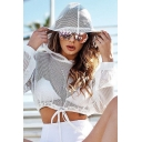 Girls Plain See Through Mesh Long Sleeves Drawstring Hem Sexy Crop Top Hoodie