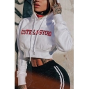 Fancy CUTE & PSYCHO Letter Embroidery Long Sleeve White Drawstring Crop Hoodie