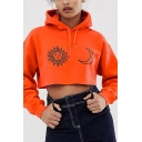 Cute Sun and Moon Printed Long Sleeve Orange Cropped Hooded Sweatshirt