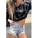 Womens Cool Plain Black PU Metallic Pleated Detail Elastic Cuff Long Sleeve Drawstring Crop Hoodie
