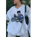 White Cartoon Girl and Motorcycle Printed Long Sleeve Loose Fit Pullover Sweatshirt