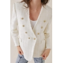 Ladies Fashionable White Long Sleeve Button Embellished Tweed Suit Coat with Pocket