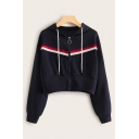 Navy Blue Stylish Color Block Tape Decoration Long Sleeve Zip Up Cropped Drawstring Hoodie