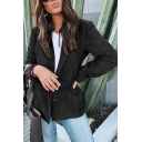 Winter Womens Fashionable Plain Corduroy Long Sleeve Button Front Oversized Blazer Coat with Pocket