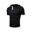 Sportive V-Neck Contrast Trim Short Sleeve Slim Fit Casual Fitness T-Shirt Hoodie