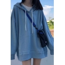 Womens Korean Stylish Plain Long Sleeve Oversized Longline Drawstring Hoodie