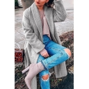 Womens Stylish Shawl Collar Long Sleeve Solid Color Longline Wool Coat with Pocket