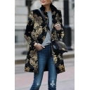 Retro Floral Printed Long Sleeve Lapel Collar Black Longline Chic Overcoat for Women