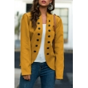 Womens Popular Plain Double Breasted Long Sleeve Open Front Uniform Blazer Coat