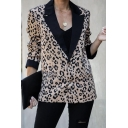 Fashionable Contrast Lapel Collar Leopard Pattern Long Sleeve Double Button Loose Fit Casual Blazer Coat