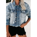 Womens Stylish Light Blue Lapel Collar Single Breasted Ripped Long Sleeve Raw Edges Short Jacket Coat