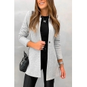 Womens Casual Plain Long Sleeve Single Button Slim Fit Longline Work Office Blazer Coat
