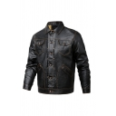 Men's Black Casual Long Sleeve Lapel Collar Button Up Faux Leather Workwear Thick Trucker Jacket