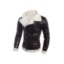 Winter Popular Two-Way Collar Long Sleeve Oblique Zip Black PU Leather Fleece Fitted Jacket Coat