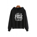 Womens Leisure Letter JUST A GOOD MOM Long Sleeve Loose Drawstring Hoodie
