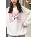 Womens Lovely Moon Cat Printed Long Sleeve White Casual Loose Fit Sweatshirt