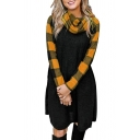 Womens Classic Checked Paneled Long Sleeve Cowl Neck Casual A-Line Midi Dress