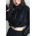 VPTIANCH Letter Tape Patched Long Sleeve High Collar Drawstring Hem Half-Zip Black Cropped Sweatshirt for Cool Girls