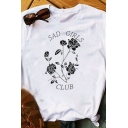 Ladies Fashionable SAD GIRLS CLUB Rose Printed Short Sleeve Crew Neck White Casual T-Shirt