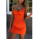 Womens Simple Plain Sleeveless Button Up Casual Mini Strap Dress