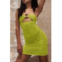 Ladies Sexy Solid Color Hollow Out Detail Mini Bandage Tube Dress for Party