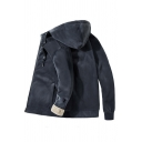 Dark Grey Long Sleeve Zip Up Warm Fleece Thick Casual Hooded Jacket for Men