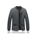Mens Warm Long Sleeve Stand Collar Button Down Velvet Patch Quilted Down Jacket Coat