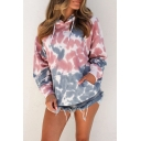 Womens Casual Tie Dye Print Long Sleeve Loose Fit Pink and Blue Drawstring Hoodie with Pocket