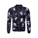 Mens Fashionable Flower Printed Long Sleeve Zip Placket Black Fitted Baseball Jacket