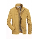 Mens New Fashionable High Collar Long Sleeve Zip Placket Yellow Slim Fit Casual Jacket Coat