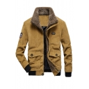 Winter Warm Lapel Collar Long Sleeve Flap Pocket Zip Placket Quilted Lined Yellow Corduroy Jacket Coat
