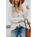 New Fashion Simple Plain V-Neck Long Sleeve Button Down Warm Cardigan