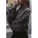 Womens Fashion High Collar Lantern Sleeve Faux Pearl Embellished Gray Pullover Sweater