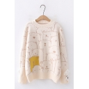 Womens Cute Cartoon Bear Printed Long Sleeve Round Neck Oversized Loose Pullover Sweater