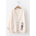 Womens Cute Cartoon Embroidery Printed Long Sleeve Button Closure Ripped Decorated Oversized Knit Cardigan Coat