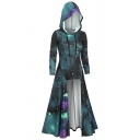 Womens Vintage Universe Galaxy 3D Printed Long Sleeve High Low Hem Maxi Drawstring Hooded Dress (Pictures for Reference)