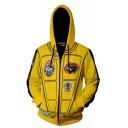 Hot Movie Logo Printed Stripe Long Sleeve Zip Placket Yellow Cosplay Costume Pullover Hoodie
