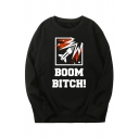 Mens Cool Cartoon Missile BOOM BITCH Printed Long Sleeve Black Pullover Graphic Sweatshirt