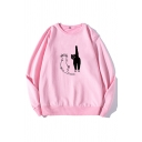 Funny Cats Pattern Long Sleeve Round Neck Loose Relaxed Pullover Sweatshirt