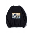 Ukiyo-e Cool Wave Printed Long Sleeve Round Neck Relaxed Loose Pullover Sweatshirt