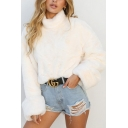 Winter Warm Pure Colour High Collar Long Sleeve Plush Rabbit Fur Pullover Sweatshirt